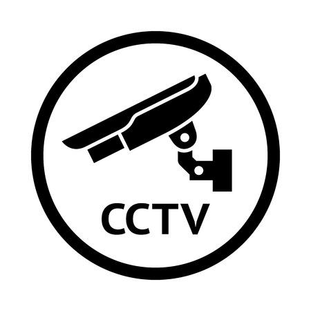 monitored: CCTV symbol, black emblem isolated on white background Illustration