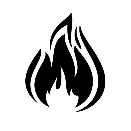 fire flame: Fire flame icon, black icon isolated on white background
