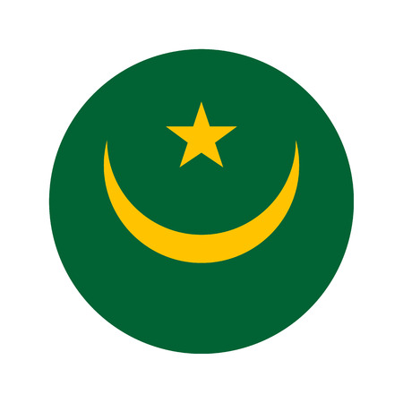 mauritania: Flag, vector illustration circular shape on white background