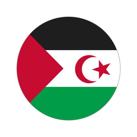 sahrawi arab democratic republic: Flag, vector illustration circular shape on white background