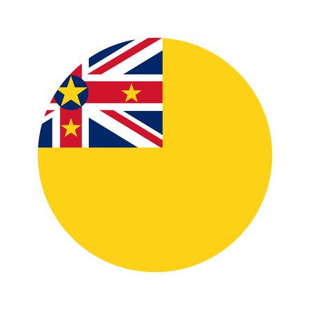 niue: Flag, vector illustration circular shape on white background