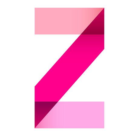z fold: bright letter folded of paper ribbon colour. creative design element