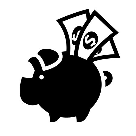 piggy bank, black icon isolated on white background