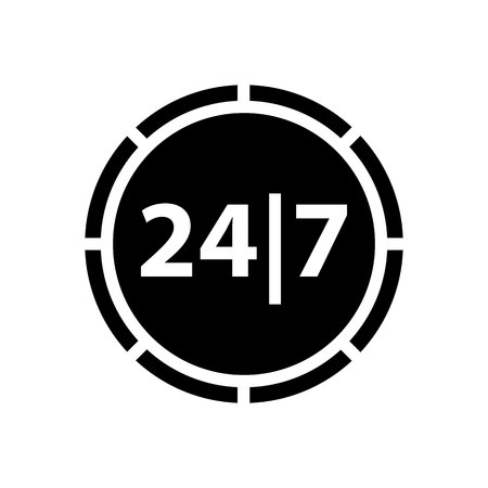around the clock: Shopping icon. Symbol black on white background
