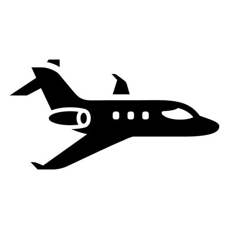 Air transport - black icon isolated on white background Ilustração