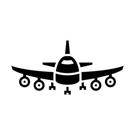 Air transport - black icon isolated on white background Illustration