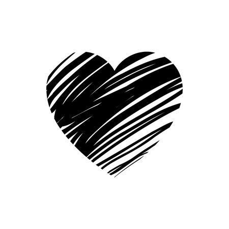 愛のシンボル。バレンタインの記号、白い背景に分離された黒のエンブレムはフラット スタイルです。