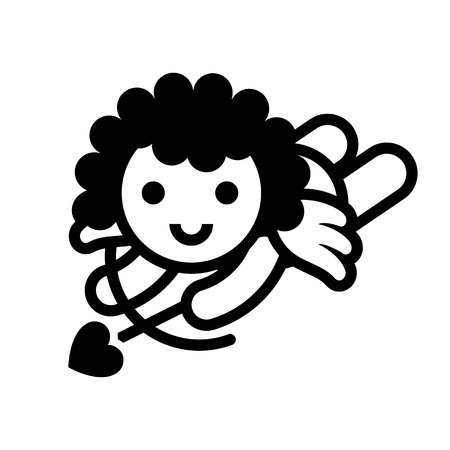 Love symbol. Valentines Day sign, black emblem isolated on white background, flat style.