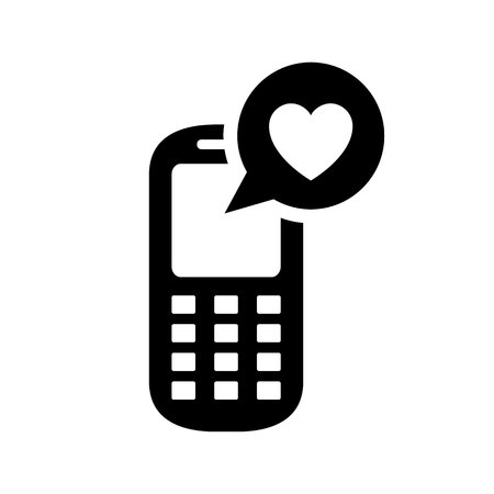 telephone: Love symbol. Valentines Day sign, black emblem isolated on white background, flat style.
