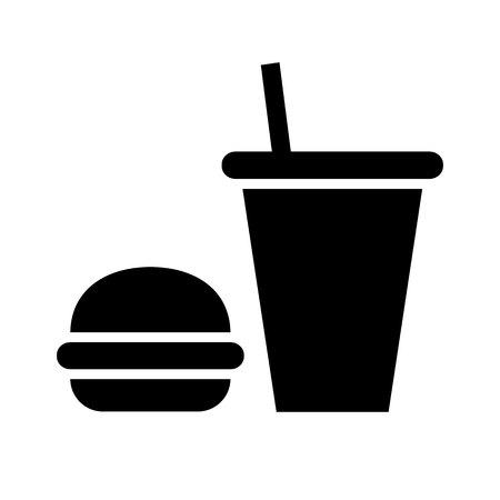 eating lunch: Black icon isolated on white background, flat style. Illustration