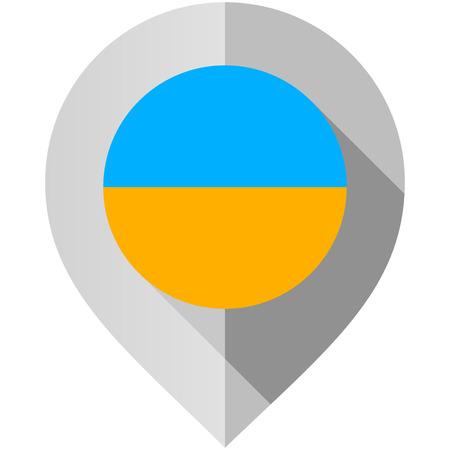 Marqueur avec indicateur de carte, illustration vectorielle sur fond blanc