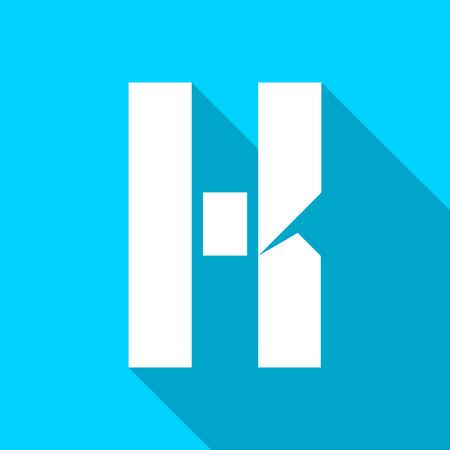 Alphabet paper cut white letter K, on color square