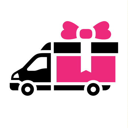 Delivery truck, flat pink icon. Vector illustration Illustration