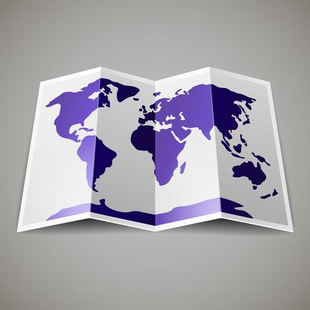 灰色の黒地に、世界の紫色の地図