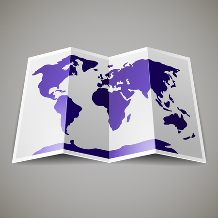 Purple map of the World, on gray blackground