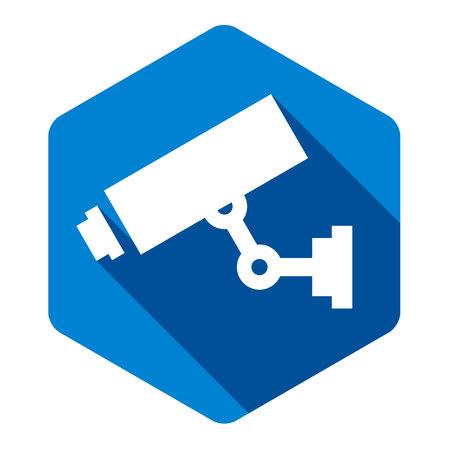 White camera on blue hexagon, vector illustration Çizim