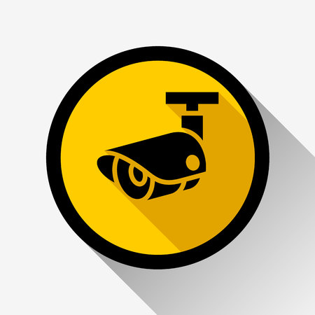 video surveillance icon on a yellow circle, vector illustration