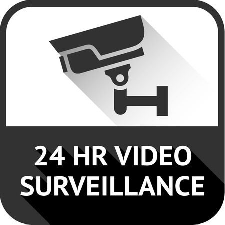 video surveillance on black square, vector illustration