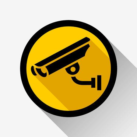 video surveillance icon on a yellow circle, vector illustration