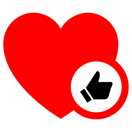 Heart, vector illustration, red icon isolated on white background, flat style.