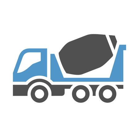 Concrete mixer - gray blue icon isolated on white background. Illustration