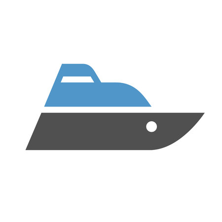 Boat - gray blue icon isolated on white background.