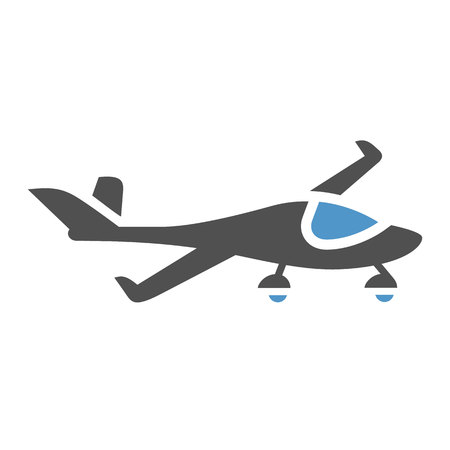 Private jet - gray blue icon isolated on white background.