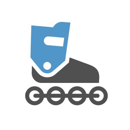 Inline skate - grijs blauw pictogram geïsoleerd op een witte achtergrond.