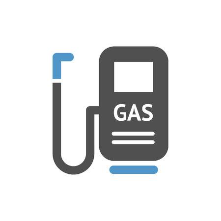 Gasoline station- gray blue icon isolated on white background. Çizim