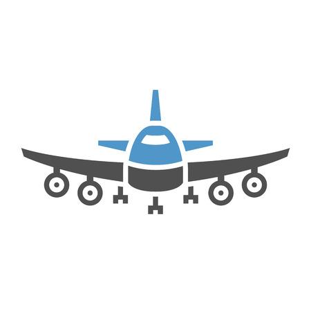Plane - gray blue icon isolated on white background.