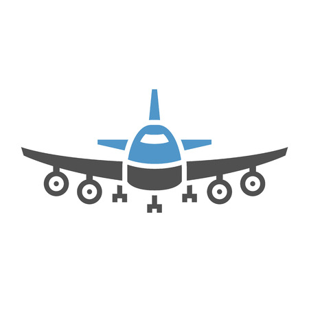 Plane - gray blue icon isolated on white background.