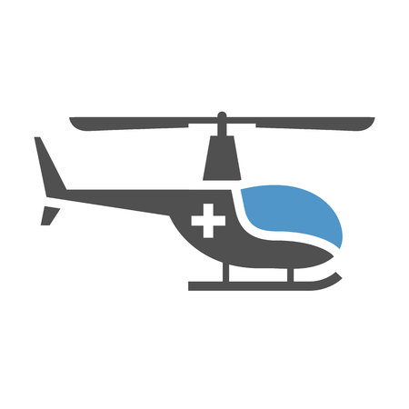 Medical helicopter - gray blue icon isolated on white background. Illustration