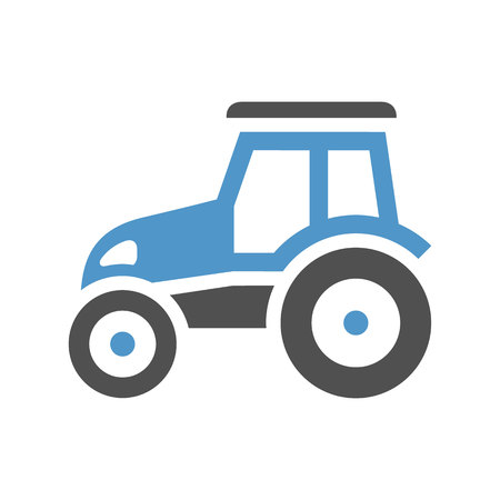 Tractor - gray blue icon isolated on white background.