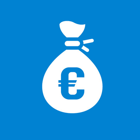 White money bag on a blue square Vector illustration.