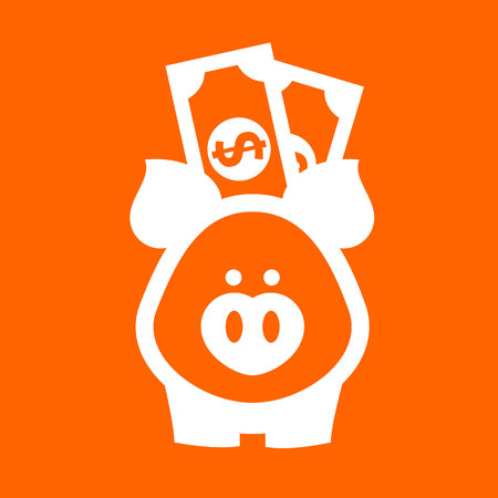White piggy bank on a orange square
