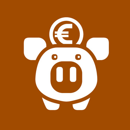 White piggy bank on a brown square