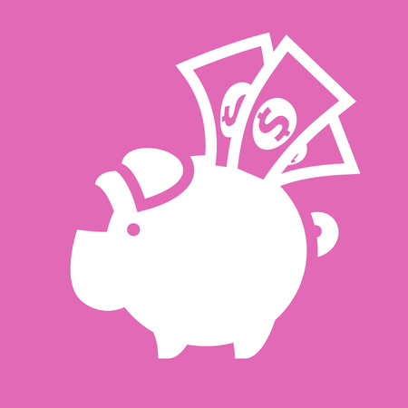 White piggy bank on a pink square