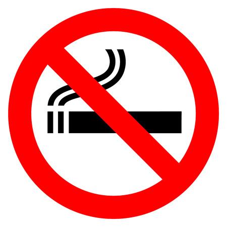 Non fumatori nell'illustrazione rossa del segno su fondo bianco. Vettoriali