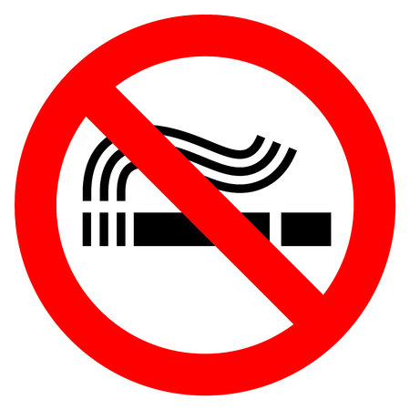 Rauchverbot in der roten Wiedergabe der Illustration auf weißem Hintergrund Standard-Bild - 95522713