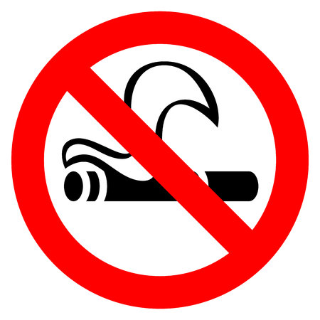 No smoking in red sign illustration on white background.