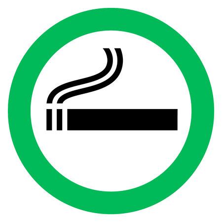 smoking area sign, cigarette in green circle. Vector illustration. Vectores