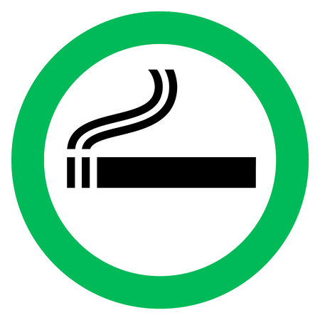 smoking area sign, cigarette in green circle. Vector illustration. Çizim