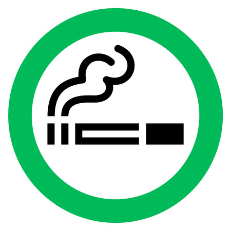 smoking area sign, cigarette in green circle. Vector illustration. 向量圖像