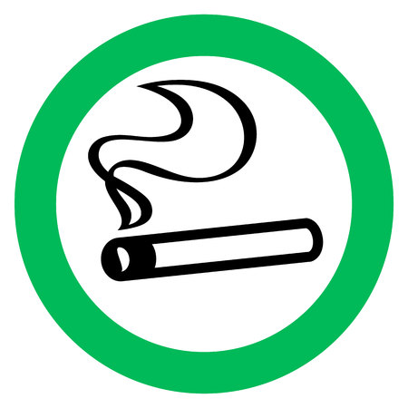 smoking area sign, cigarette in green circle. Vector illustration.  イラスト・ベクター素材