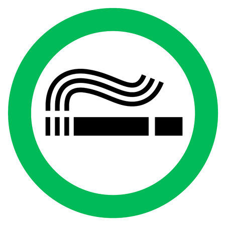 Smoking area, green sign on a white background