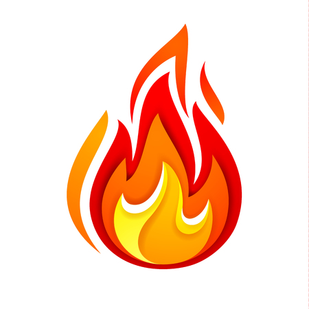 Fire flame, yellow red, vector illustration.