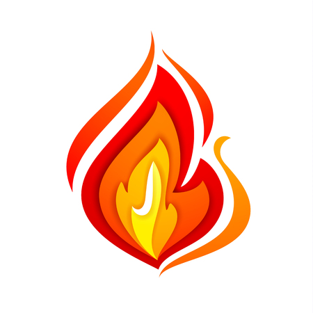 Fire flame, yellow red, vector illustration isolated on white background Illustration