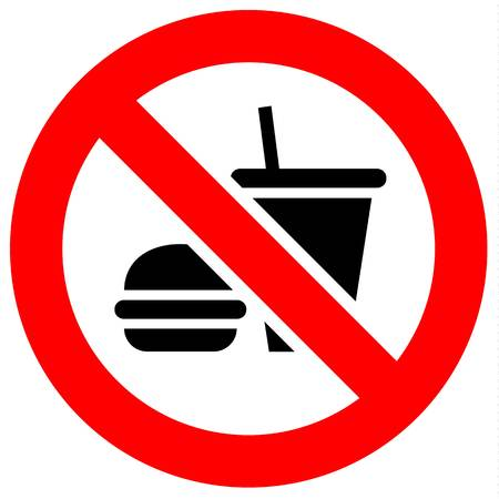 Prohibition sign. Black forbidden symbol in red round shape