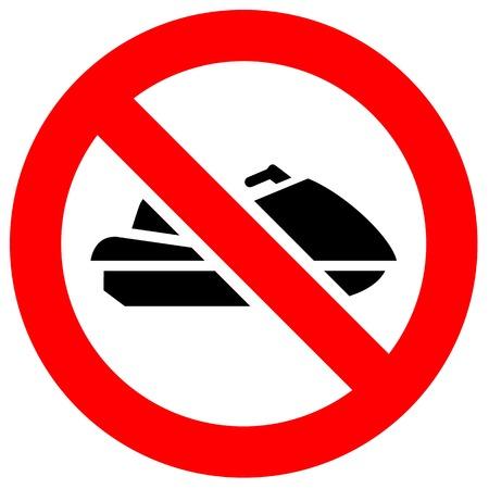 Prohibition sign. Black forbidden symbol in red round shape