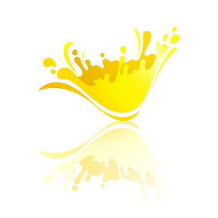 Splash yellow wave with reflection, vector illustration